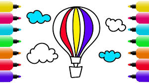 how to draw air balloon coloring pages for kids art colors