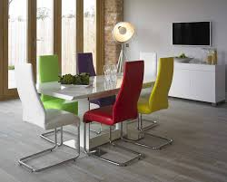 white dining table and coloured chairs with concept hd photos 3240