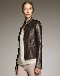 light brown leather jacket womens lyst burberry prorsum fringe trim bonded leather jacket in brown