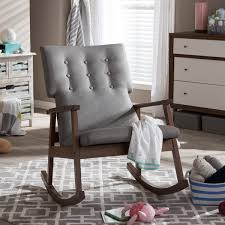 Midcentury Modern Rocking Chair - baxton studio agatha mid century modern grey fabric upholstered