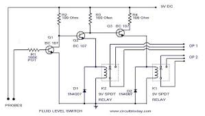 liquid fluid water float tank level switch circuit diagram using relay