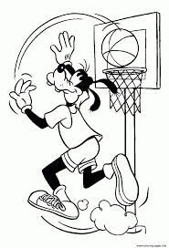 disney goofy basketball e8b5 coloring pages printable