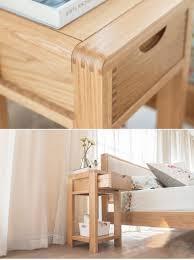 nordic style bedroom furnishings oak finish veneer wooden bed side
