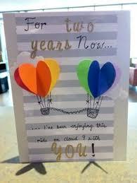 2 year anniversary gift ideas for boyfriend two year anniversary heart air balloon card