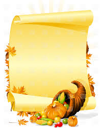 blank thanksgiving invitation with cornucopia and vegetables
