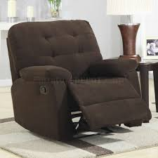 brown corduroy fabric modern rocker recliner chair w pillow arms
