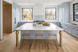 light grey acrylic kitchen cabinets acrylic and brass at island with brass legs transitional