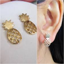 alternative earrings pineapple clip on earring non pierced earring gold invisible