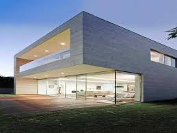 luxury modern concrete home plans with glass wall using