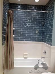 blue bathroom tiles ideas but subway on bottom arabesque on top bath arabesque tile design