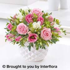 sunday flower delivery marshmallow pink and freesia arrangement flower delivery