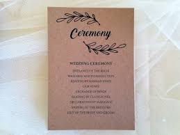 wedding ceremony card wedding order of day cards wedding day running order cards 50p