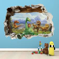 Bedroom Wall Decals Uk The Good Dinosaur Wall Sticker 3d Smashed Bedroom Boys Girls