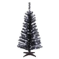 shop national 4 ft pre lit tinsel rightside up artificial
