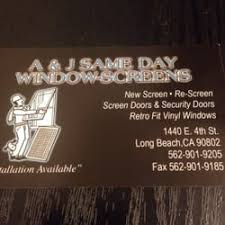 Business Cards Long Beach A U0026 J Same Day Window Repairs Windows Installation 1440 E 4th