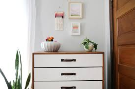 mid century dresser facelift with glidden paint smile and wave