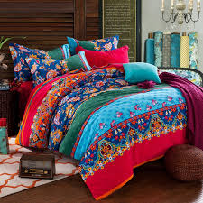 Tribal Print Bedding Red Aqua And Navy Blue Folklore Pattern Multi Color Boho Style
