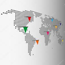 World Map With Flags Dotted World Map With Color Pointer Flags Vector Graphic U2014 Stock