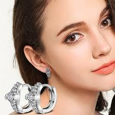 huggie earring women wedding party jewelry shiny cubic zirconia hoop huggie