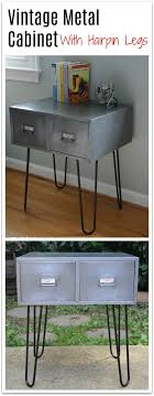 vintage hairpin table legs before after vintage metal cabinet with hairpin legs