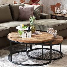 wood nesting coffee table reclaimed wood nest of table industrial coffee table modish living
