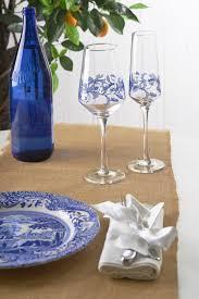 spode blue italian set of 4 wine glasses spode usa