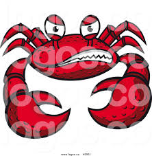 royalty free vector of a grinning mean crab logo by vector