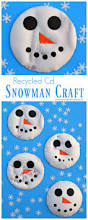 recycled cd snowman kid craft the resourceful mama