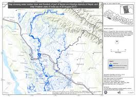 Map Of Nepal And India by Map Showing Water Bodies River And Flooded Of Part Of Banke And