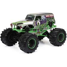 monster jam 1 24 scale trucks new bright r c f f 12 8 volt 1 8 monster jam grave digger chrome