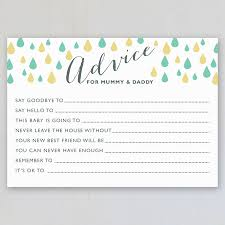advice to the cards baby shower advice cards pack of eight by intwine design