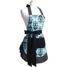 amazon com flirty aprons women u0027s original apron aqua damask