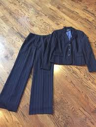 jones new york womens black white pinstripe pant suit polyester sz