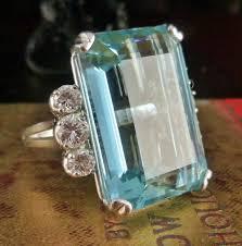 antiques atlas art deco emerald cut aquamarine u0026 diamond ring
