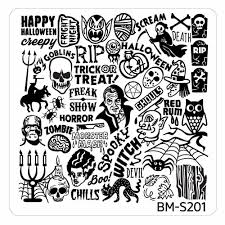 Halloween Monster Mash by Halloween Square Nail Art Stamping Plates Bm S201 Ghoulishly
