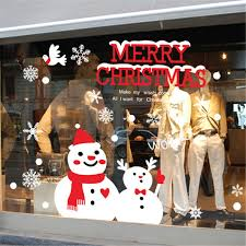 Christmas Window Glass Decorations by Aliexpress Com Buy Creative Snowman Brothers Christmas Wall