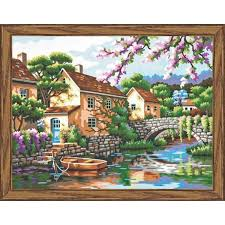 amazon com dimensions paint by number craft kit village canal