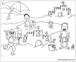 Building Sand Castle On A Beach Trip Coloring Page Free Coloring Sandcastle Coloring Page