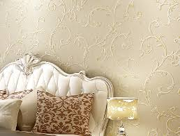 europe neoclassical bedroom decoration with embossed wallpaper