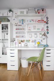 elegant craft room design with white storage also cube shelves