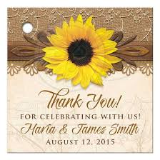 Wedding Gift Tags Rustic Sunflower Personalized Wedding Favor Tags Burlap Lace Wood