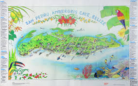 poster map of ambergris caye from the early 1990 u0027s