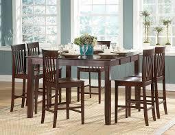 bar height dining table set dark oak wood chairs unify motive