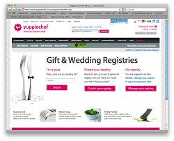 how to find wedding registry yuppiechef s online gift registry yuppiechef magazine