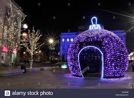 christmas decorations in warsaw stock photo royalty free image