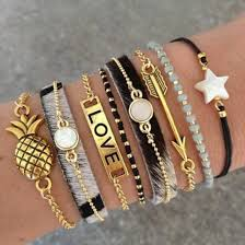black gold bangle bracelet images Jewels love pineapple black gold bracelets arrow stars jpg