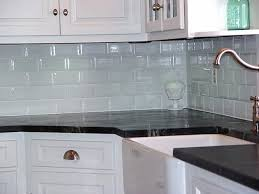 Green Tile Backsplash Kitchen Kitchen Green Tile Kitchen Electric Stove Brown Wood Cabinet