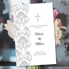 church programs for wedding catholic wedding program damask silver word doc foldover