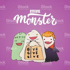 Monster Halloween Party Mini Monster Halloween Party Hand Drawn Lettering And Sketch Stock