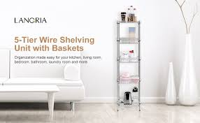 5 Tier Wire Shelving by Amazon Com Langria 5 Tier Wire Shelving Unit With Baskets